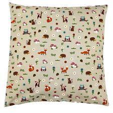 Beautiful Life Cushion Pillow Cover Forest Friends Hedgehog Owl Fox 40x40cm