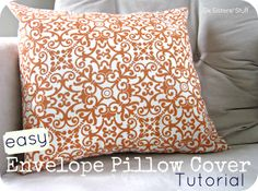 Easy Envelope Pillow Cover Tutorial from sixsistersstuff.com.  The easiest way to make an envelope pillow cover for even the most inexperienced sewer! #crafts #sewing