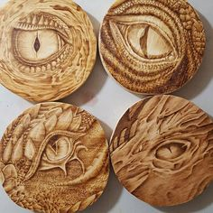 here is the coaster set of #dragon eyes. #pyrography #woodburning #twitchcreative #twitch #wood #woodworking