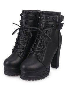 Solid Color Rivets Chunky Heel Short Boots