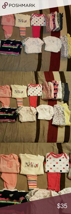 25 Pieces of baby girl clothes 25 Pieces of baby girl clothes ONLY WORN ONCE  Name brands Gymboree, Circo, Carter's, Sterling Baby, Old Navy, Child of Mine, Little Wonders, Gerber Koala Baby, Bon B?b? & Ralph Lauren   *Includes 4 Color short sleeve onesies  4 white short sleeve onesies  7 Rompers (feets out) 4 One piece sleepers  Outfits include 3 long sleeve onesies and 3 pants   Sizes: Newborn, 0-3mnts & 3mnths  Smoke and pet free home!!  All clean and washed with baby dreft  *WILL NOT…