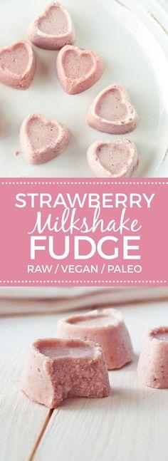 Strawberry Milkshake Fudge #raw #vegan #paleo
