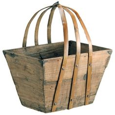 Candelabra Home Solid Pine Wood Utility Basket