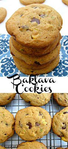 Baklava Cookies - a delicious dessert recipe made with chopped pistachios, chocolate chips and honey tahini. My favorite Mediterranean flavors! | chicagojogger.com #ad