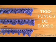 Tres puntos de borde a dos agujas paso a paso - YouTube Knitting Videos, Knitting For Beginners, Knitting Stitches, Baby Knitting, Knitting Patterns, Crochet Patterns, Diy Crafts Knitting, Foundation Single Crochet, How To Purl Knit