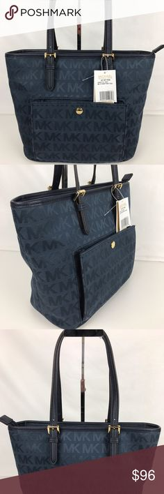 """Michael Kors Jet Set Medium Top Zip Pocket Tote Condition: New, with Tags  This jacquard tote keeps essentials easily organized and within reach with a pocket-lined design that includes a padded center pocket for your tech items, plus an outer snap pocket. 13""""W x 9-3/4""""H x 5-1/4""""D. 1 center zip padded pocket, 1 cellphone pocket, 3 pockets, 1 zip pocket. Style 30S6GTTT2J. Our bag # RB339.  Thank you for your interest!   PLEASE - NO TRADES / NO LOW BALL OFFERS / NO OFFERS IN COMMENTS - USE THE…"""