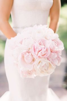 Blush peony wedding bouquet: http://www.stylemepretty.com/texas-weddings/dripping-springs/2017/03/24/pink-peony-wedding/ Photography: The Bird and the Bear - http://thebirdthebear.com/