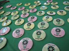 Some of the buttons created for opening of the Idea Farm, Old Bridge Library's makerSpace.