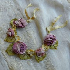 Antique vintage french silk  ribbonwork ,rosette   ,metallic ribbons