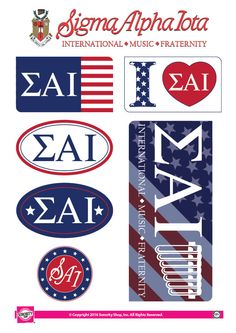 "Get your ""Greek On"" with these high quality, American stickers! Each sheet contains 7 stickers ranging in size from a 2"" circle to a generous 6.5""x3"" rectangle. Printed on sturdy vinyl, they are easil"