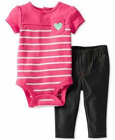 Carter's Baby Girls' 2 Piece Bodysuit and Jeggings (Baby) - Pink Stripe - 24 Months Toddler Pants, Toddler Outfits, Boy Outfits, Toddler Girl, Toddler Shoes, Carters Baby Girl, Baby Girls, Teen Boys, Striped Bodysuit