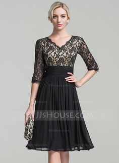 [CA$ 169.23] A-Line/Princess V-neck Knee-Length Jersey Mother of the Bride Dress With Ruffle