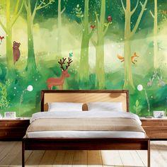 Gratis Verzending Cartoon behang groen bos kinderkamer behang non woven achtergrond muur van kleuterschool muur schilderen in Materiaal:Non- woven muurschilderingBehang lijm is niet inbegrepen, maar kan worden gekocht bij uw lokale hardware winke van wallpapers op AliExpress.com | Alibaba Groep