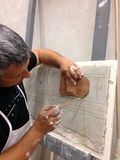 Sketching geometry on fresco panel