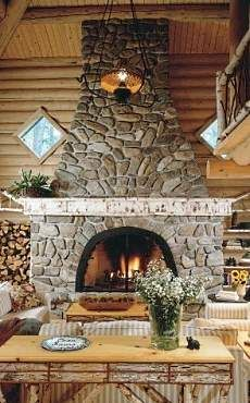 Rustic Stone Fireplace Cabin Life Interiors Decor Cottage