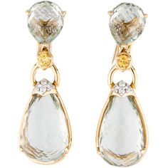 Pre-owned 18K Prasiolite Topaz and Diamond Earrings ($1,525) ❤ liked on Polyvore featuring jewelry, earrings, accessories, topaz jewelry, green quartz jewelry, 18 karat gold earrings, diamond accent jewelry and green jewelry