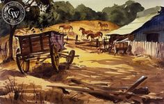 Charles Payzant - The Wagon, 1930 - California art - fine art print for sale, giclee watercolor print - Californiawatercolor.com