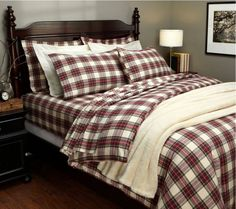 Buy it now Pinzon Yarn-Dyed Flannel Full/Queen Duvet Cover, Cream/Red Plaid Master Bedroom Design, Home Bedroom, Bedroom Decor, Master Bedrooms, Bedroom Ideas, Master Suite, Full Duvet Cover, Duvet Covers, Plaid Bedding