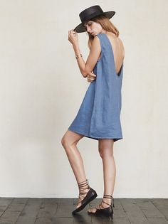 Chambray dress with low back