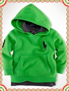 0365be0b2a7 Polo Ralph Lauren Shop By Children Big Pony Fleece Zip Hoodie Green