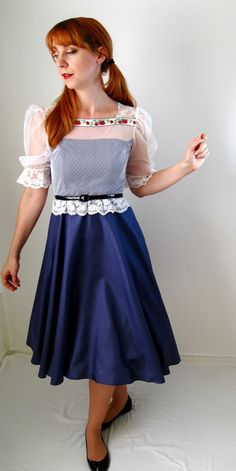 1950s Summer Dress Royal Blue And White Lace by gogovintage, $68.00