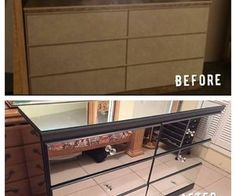 diy mirrored dresser painted furniture - March 02 2019 at Mirrored Bedroom Furniture, Mirrored Nightstand, Dresser With Mirror, Refurbished Furniture, Painted Furniture, Mirrored Vanity, Upcycled Furniture, Diy Furniture Projects, Furniture Makeover