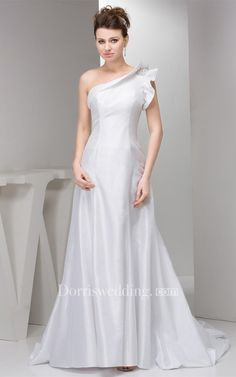 #Valentines #AdoreWe #Dorris Wedding - #Dorris Wedding One-Shoulder A-Line Satin Gown With Beaded Epaulet - AdoreWe.com
