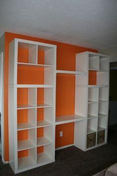"ikea hack bookshelf/desk- good idea for mounting a ""desk"" in the shelving unit"