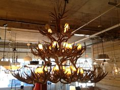 This is the center piece of our showroom. An 8' wide Sua antler chandelier. It is a must see if you are ever in the area.