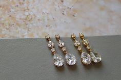 Rose gold Crystal Drop Earrings Bridal Earrings Crystal