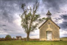 One-room stone school built in 1896 near Florence, Kansas.  Bichet School.