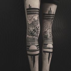 Gorgeous Diptych Tattoos Paint A Picture Across Two Legs