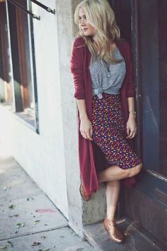 Long cardigan with tee and pencil skirt
