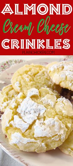 Almond Cream Cheese Crinkles - SO good! Only 6 ingredients - Cake mix, egg, butter, almond extract, cream cheese and powdered sugar. Took these to a cookie swap and everyone raved about them. One of my favorite Christmas cookies. SO easy and SO delicious!
