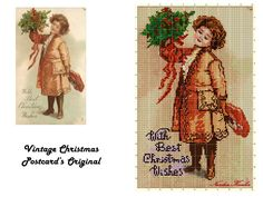 An adaptation work from an old Christmas postcard into cross stitching!