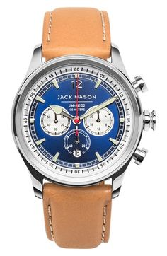 Jack Mason Brand Nautical Chronograph Leather Strap Watch, 42mm available at #Nordstrom