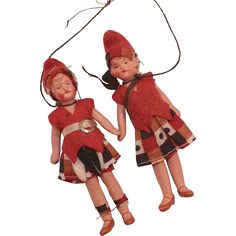 Pair Of German Miniature Painted Porcelain Dolls from karensfinds on Ruby Lane