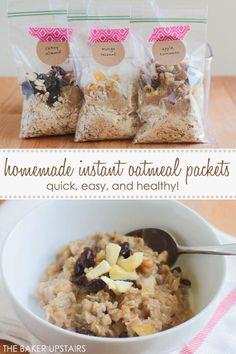 instant oatmeal packets Homemade instant oatmeal packets - quick, easy, and healthy too! Homemade instant oatmeal packets - quick, easy, and healthy too! Eat Breakfast, Breakfast Recipes, Breakfast Ideas, Homemade Instant Oatmeal, Instant Oatmeal Recipes, Apple Cinnamon Oatmeal, Oatmeal Packets, Good Healthy Recipes, Yummy Recipes
