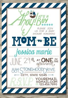 Printable Pirate Boy Baby Shower Invitation