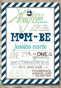 Printable Pirate Boy Baby Shower Invitation