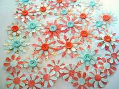 Multicolor paper flowers with button centers  pool party by Wcards, $12.80