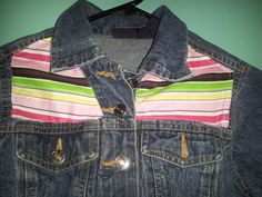 Girls dark denim jacket with multi colored fabric machine sewn on the front and back of the jacket BreezyReign.etsy.com $42.00