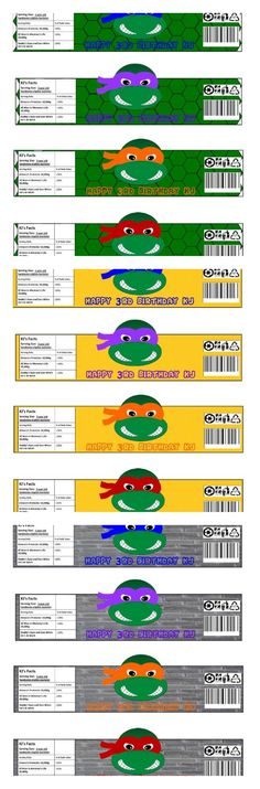 """Ninja Turtles"" Water Bottle Labels"