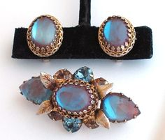 Rare REGENCY Sappharine Saphiret Set ENCHANTING C1960 Brooch and Earrings #REGENCY