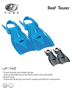 The UF-14Z Reef Tourer travel fin is a new idea for snorkeling fins. Built with TUSA quality, the foot pocket is made with a soft, durable compound designed for comfort. The open-heel design allows for quick and easy size adjustment and the silicone heel strap enhances comfort and durability. This sturdy fin is engineered to provide a lot of power for its small size. The fins are compact and lightweight ideal for travel and easy to take anywhere.