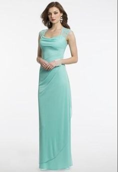 Wholesale Bridesmaid Dresses - Buy 2015 Charming Mint Green Bridesmaid Dresses Anne Queen Neck Lace And Tiered Chiffon Pleated Draped Sheath Column Floor Length Formal GownMBA, $77.06   DHgate.com