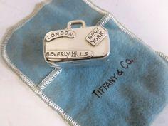 Tiffany & Co RARE Sterling Silver World Traveler Suitcase Pillbox.  #TiffanyCo Silver Tea Set, Flatware Set, Pill Boxes, World Traveler, Antique Silver, Tiffany, Suitcase, Sterling Silver, Antiques