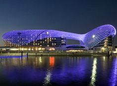 The Yas Viceroy Abu Dhabi Hotel features a unique design, set half on land and half on water. United Arab Emirates