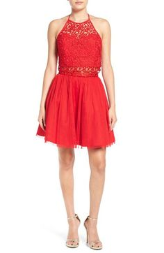 Steppin Out Halter Sequin Two-Piece Skater Dress available at #Nordstrom