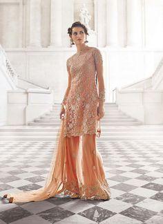 Peach Palazzo Kameez Suit in Net